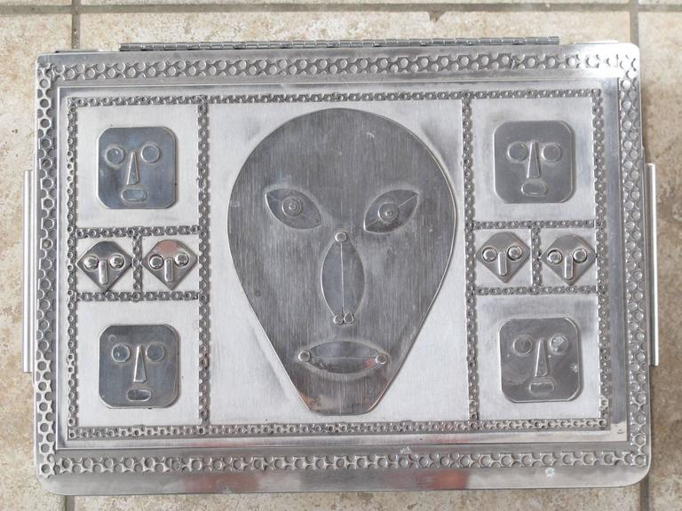 Jewelry Box with Mask Faces of Stainless Steel by Stanley Szwarc In Excellent Condition For Sale In New York, NY