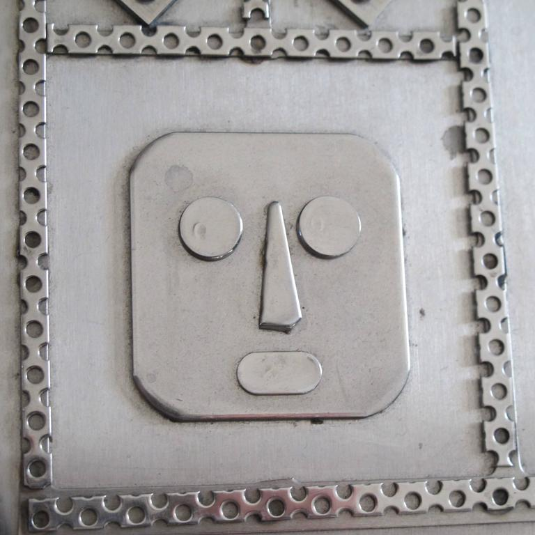 Folk Art Jewelry Box with Mask Faces of Stainless Steel by Stanley Szwarc For Sale