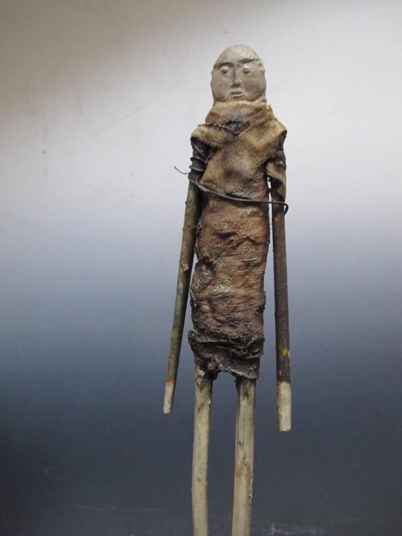 American Terry Turrell Wood Figure with Stone Head For Sale