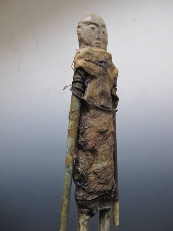 Outsider Art Terry Turrell Wood Figure with Stone Head For Sale