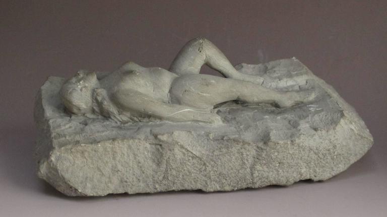 Folk Art Carved Stone Nude Folk Sculpture For Sale