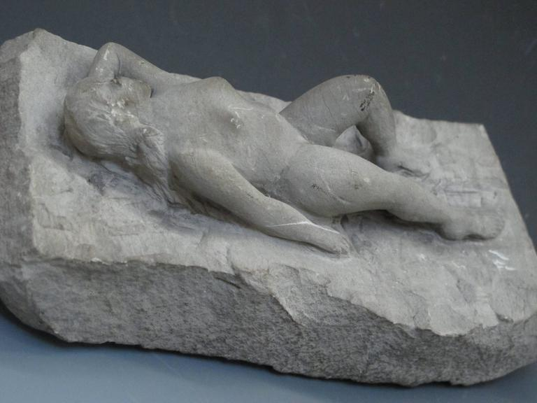 American Carved Stone Nude Folk Sculpture For Sale