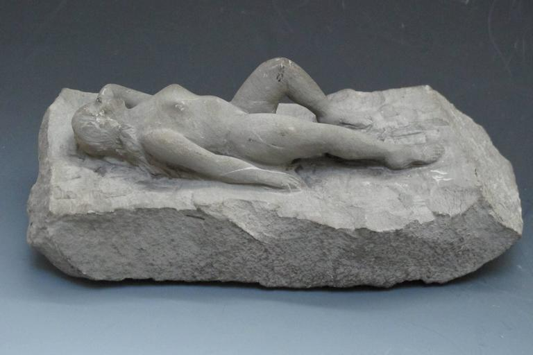 Carved Stone Nude Folk Sculpture In Excellent Condition For Sale In New York, NY