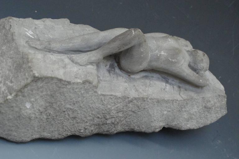 Carved Stone Nude Folk Sculpture For Sale 2