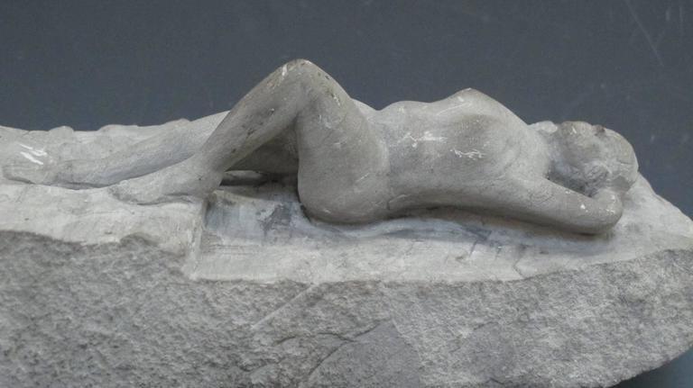 Carved Stone Nude Folk Sculpture For Sale 3