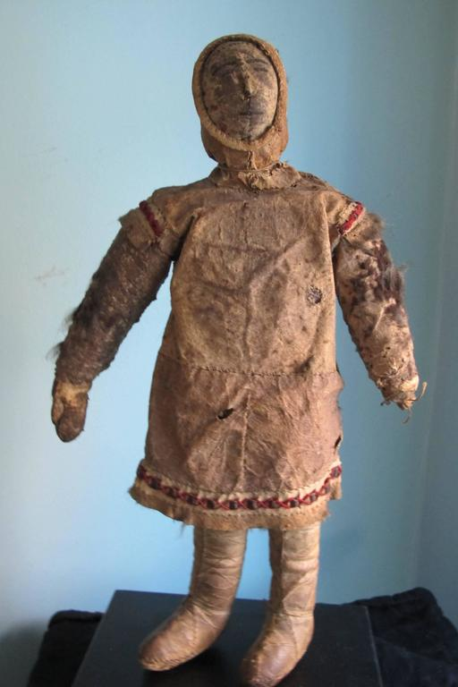 Tribal Eskimo Hide Doll with Hide Face For Sale