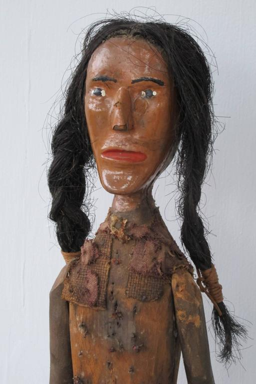 Folk Art Indian of Carved Wood with Braided Hair 3