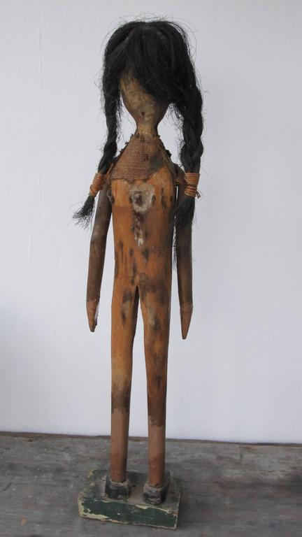 Folk Art Indian of Carved Wood with Braided Hair 5