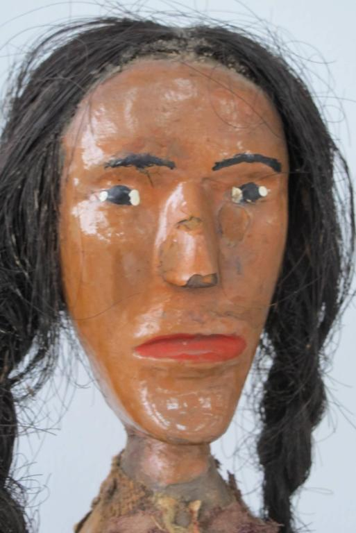 Folk Art Indian of Carved Wood with Braided Hair 6