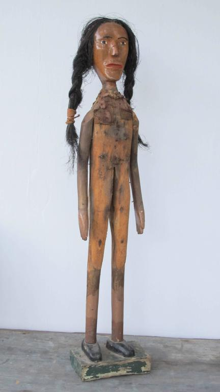 Folk Art Indian of Carved Wood with Braided Hair 9