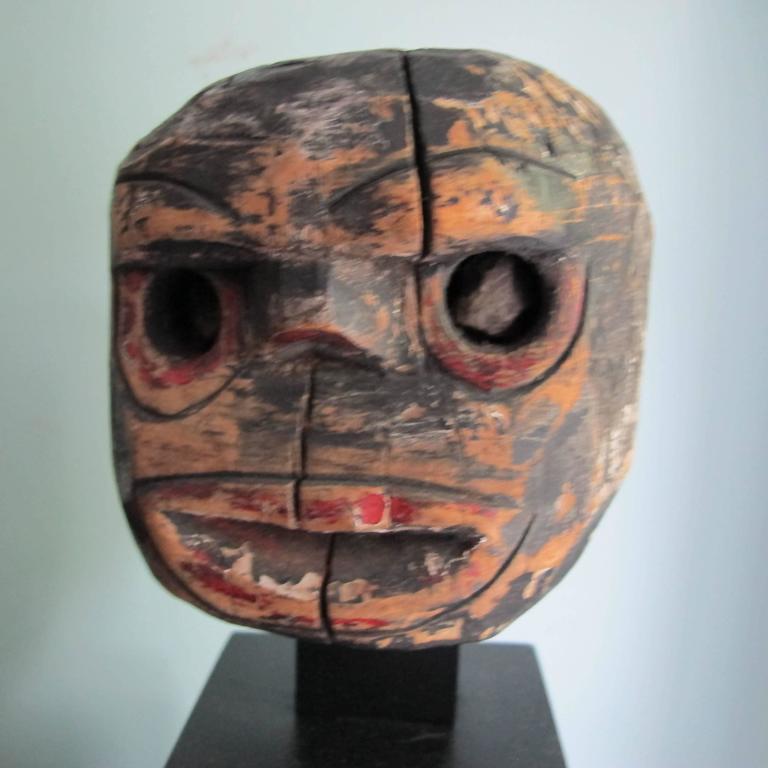 Folk Art Wood Head with Stone Eyes 3
