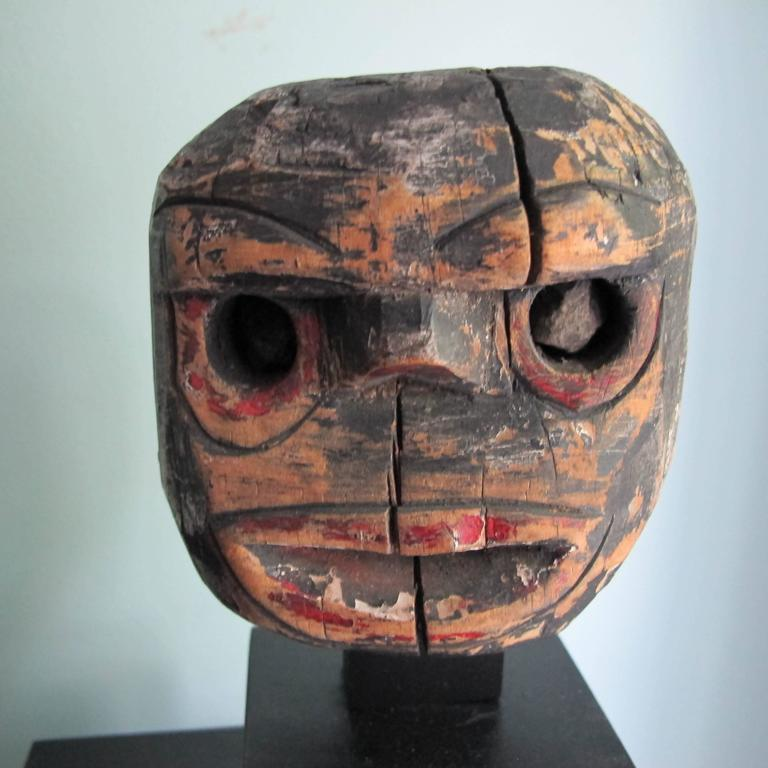 Folk Art Wood Head with Stone Eyes In Good Condition For Sale In New York, NY