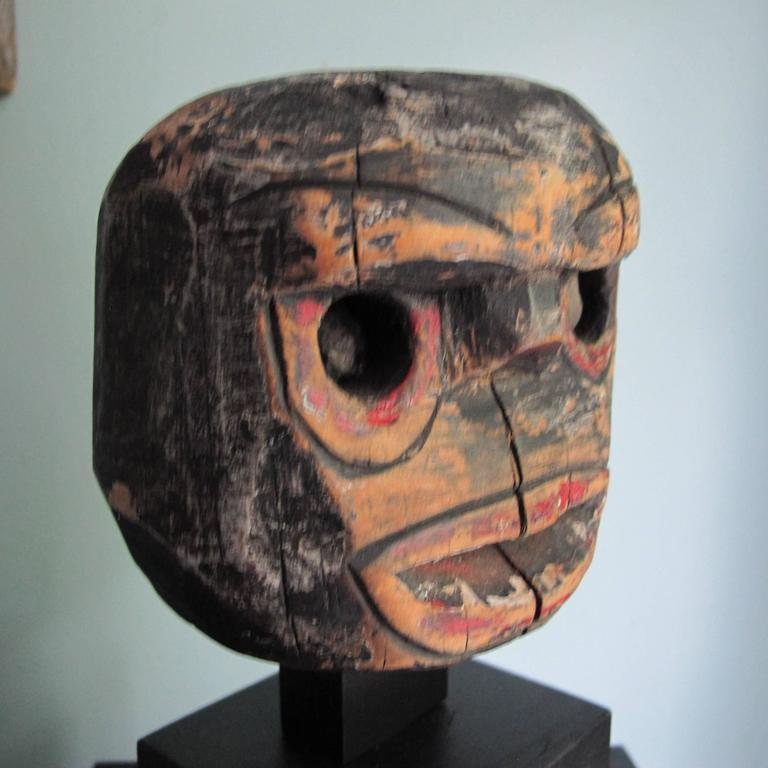 Folk Art Wood Head with Stone Eyes 6