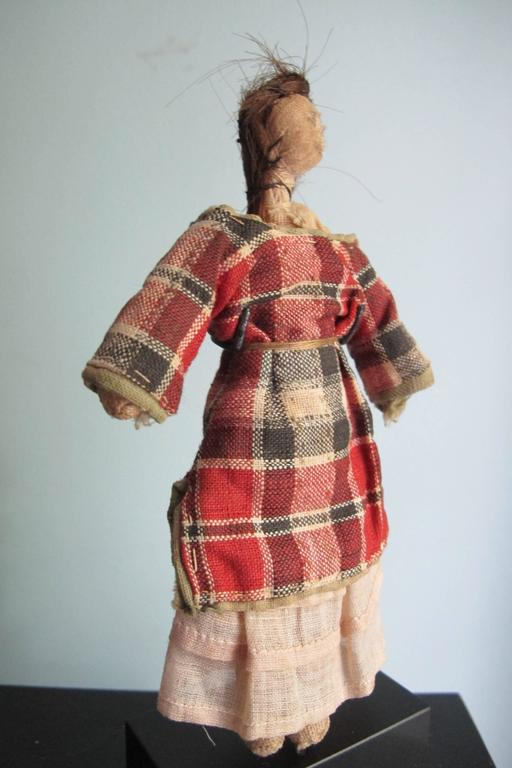 Folk Art Child's Cloth Pocket Doll with Human Hair For Sale