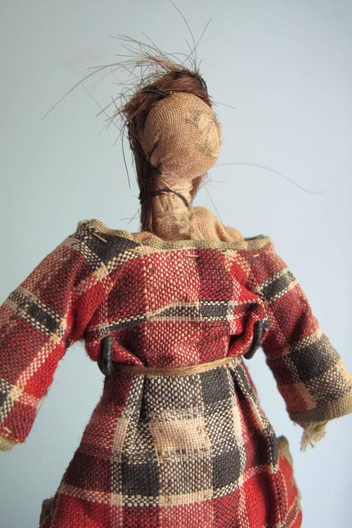 Child's Cloth Pocket Doll with Human Hair In Good Condition For Sale In New York, NY