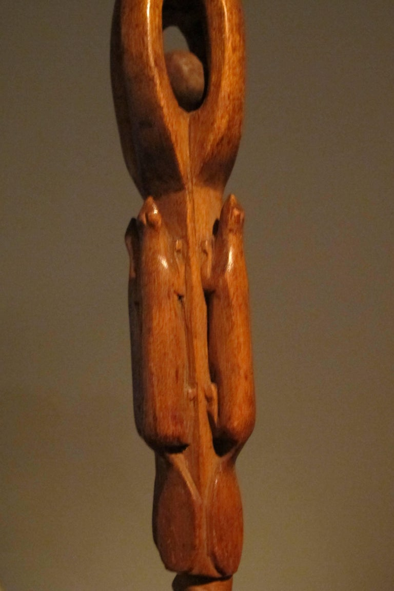 Carved wood puzzle cane with four beavers for sale at stdibs