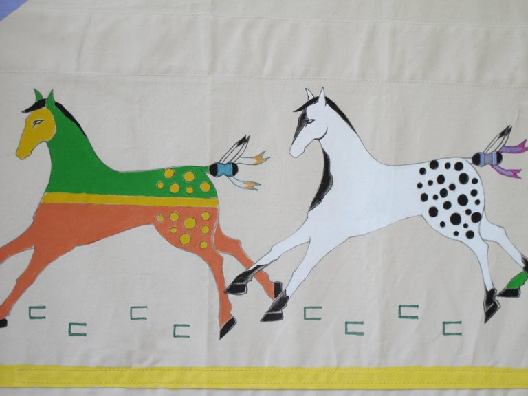 American Running Horses Painted Tipi Door by Ramona Medicine Crow For Sale