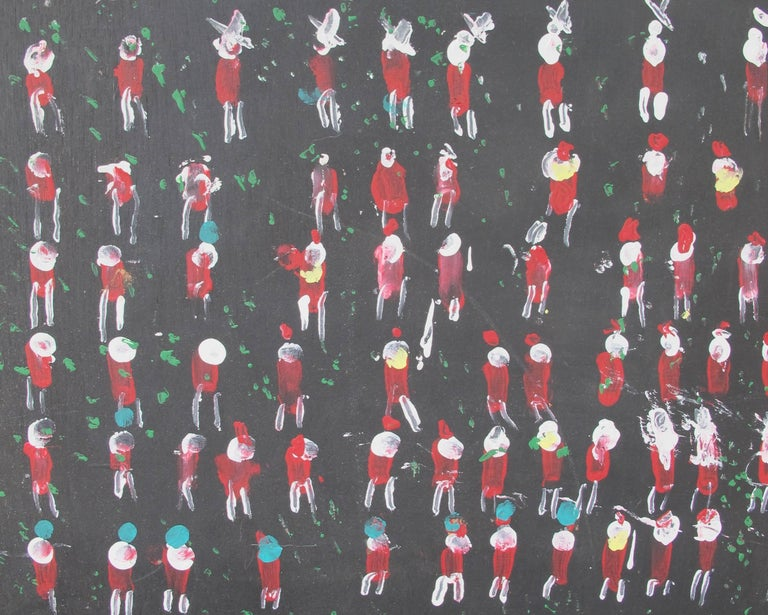 Folk Art Jimmy Lee Sudduth Painting Rows of People For Sale