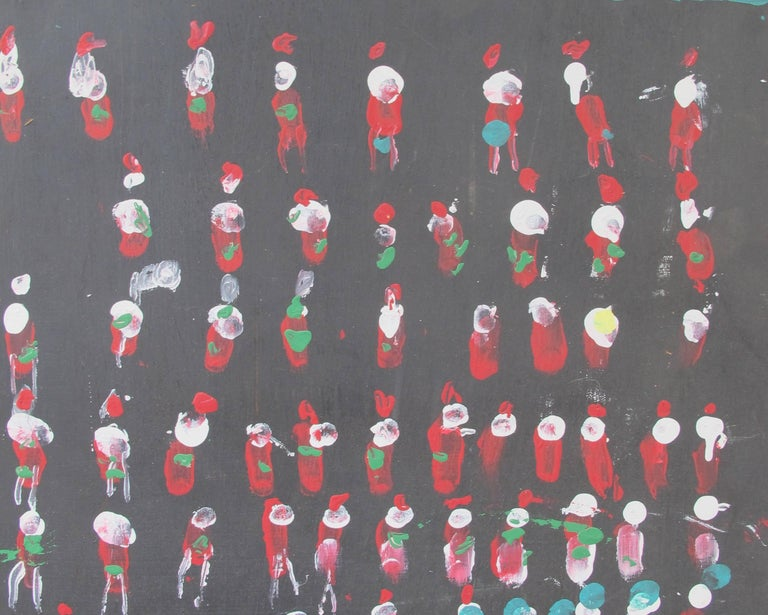 Painted Jimmy Lee Sudduth Painting Rows of People For Sale