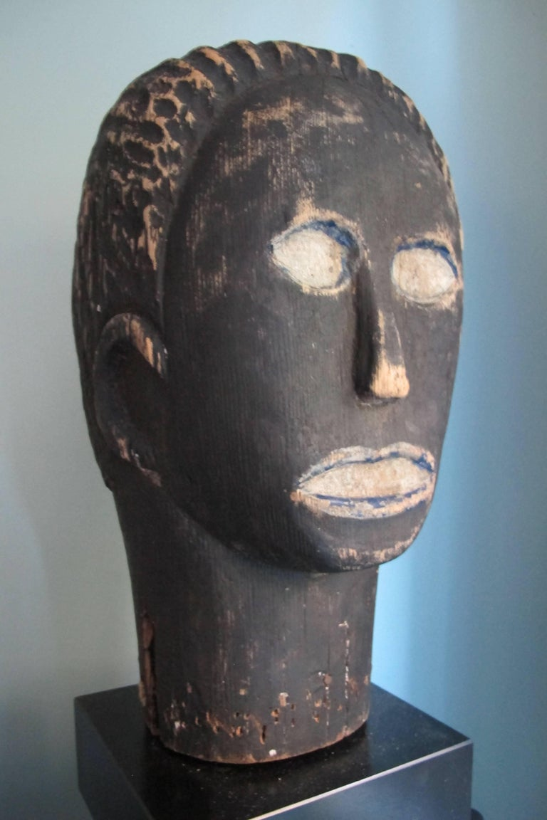 Black Wood Head Folk Art Sculpture For Sale At 1stdibs