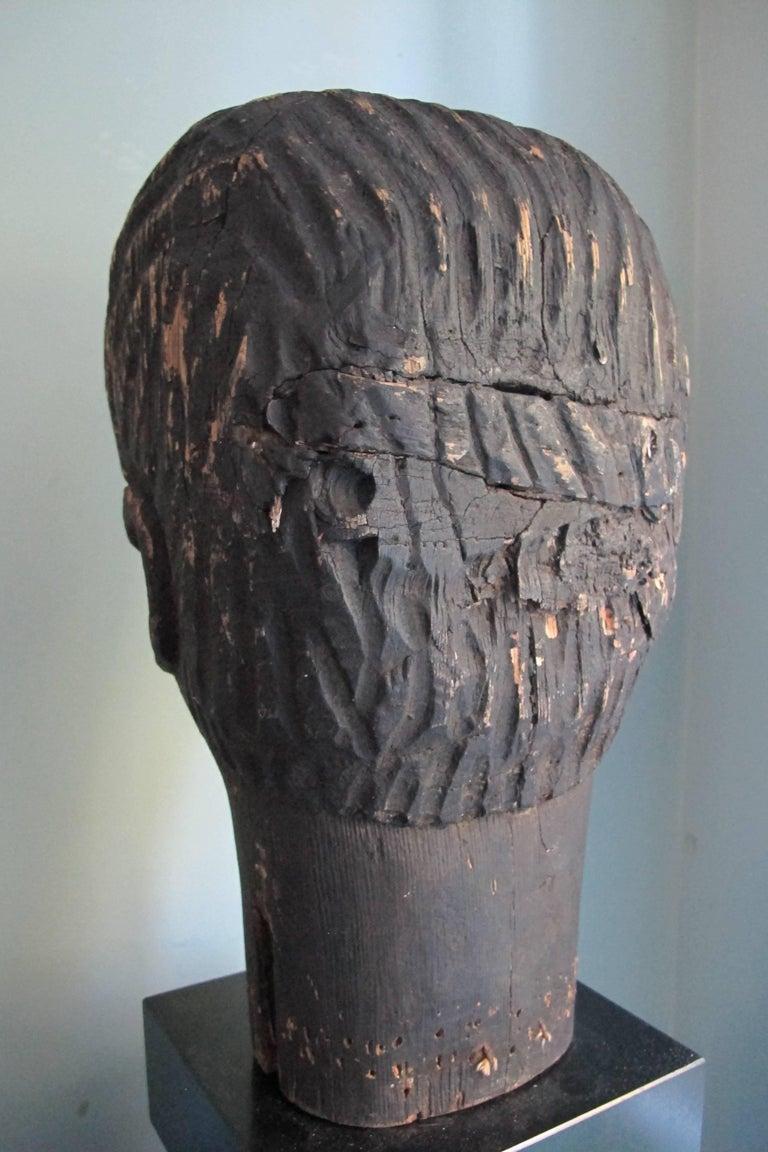 Black Wood Head Folk Art Sculpture For Sale At 1stdibs