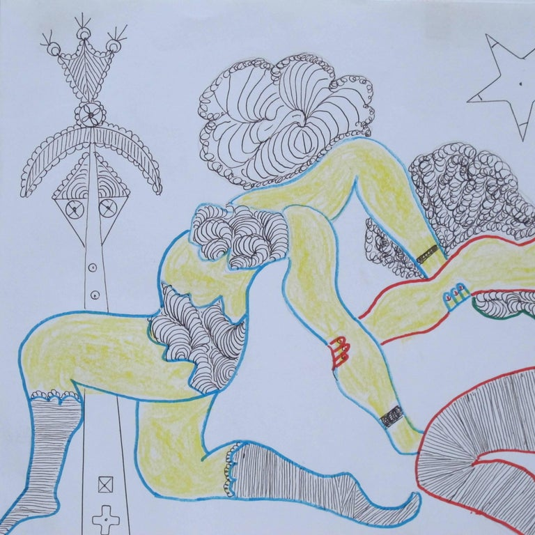Folk Art Lewis Smith Drawing of Athletic Dancers For Sale