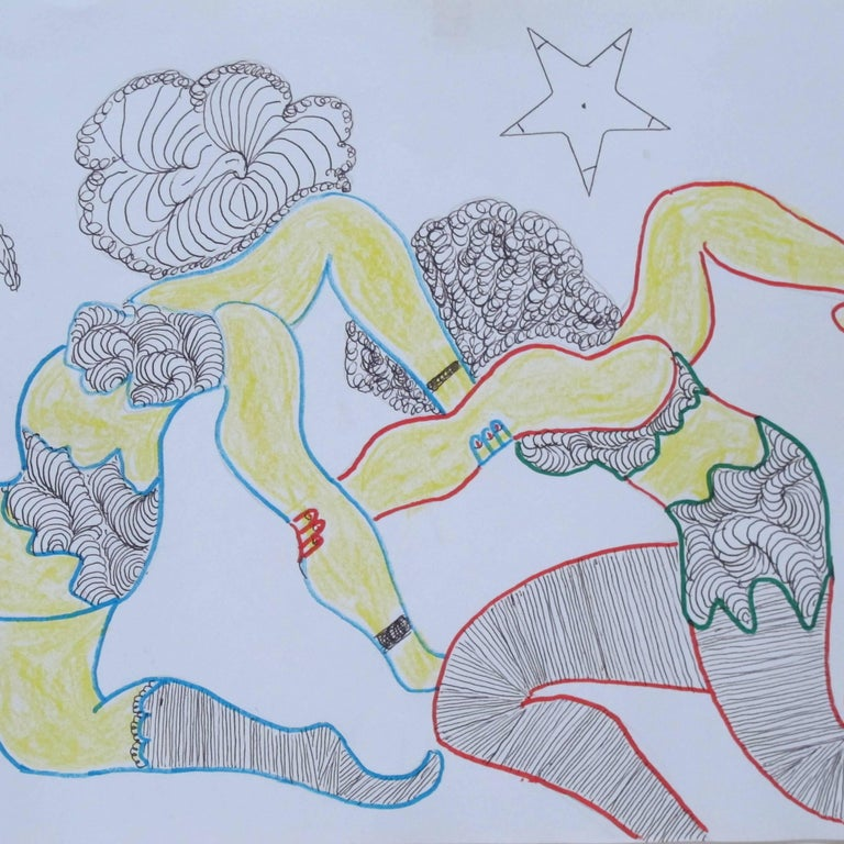American Lewis Smith Drawing of Athletic Dancers For Sale