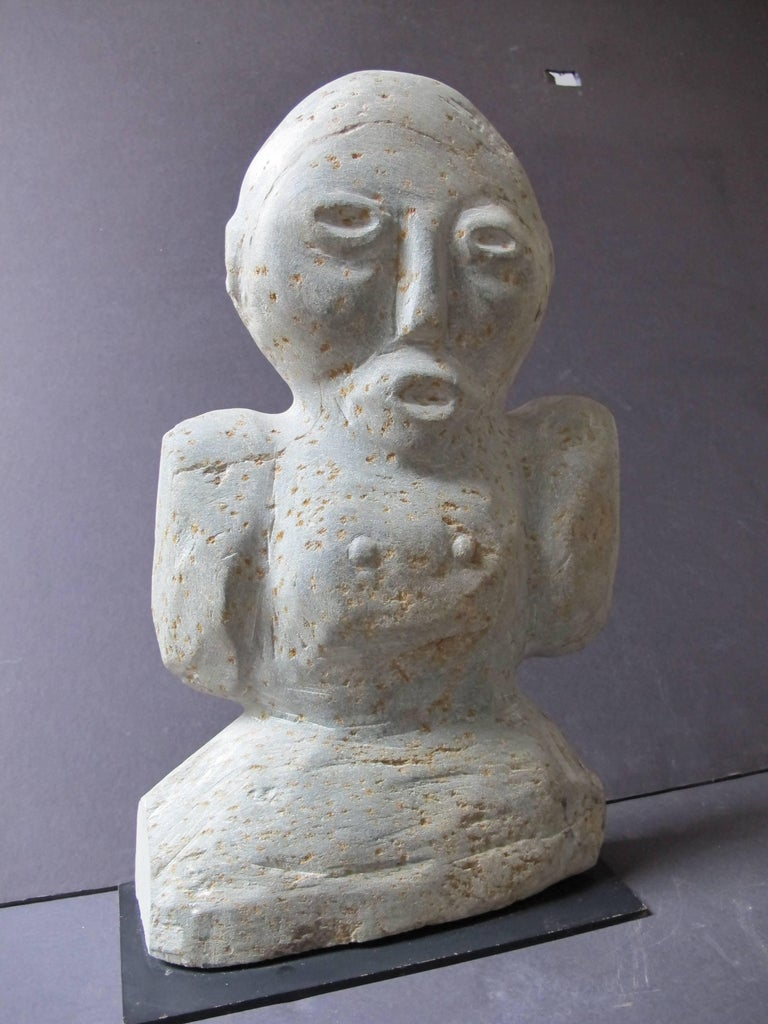 Raymond Coins (1904-1998) achieved fame for his stone carvings done with local river rock in North Carolina. He carved both animals and figures as well as religious subjects. His sculpture can be found in many public and private collections and is