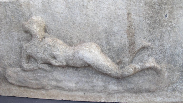 Folk Art Marble Relief with Reclining Nude For Sale