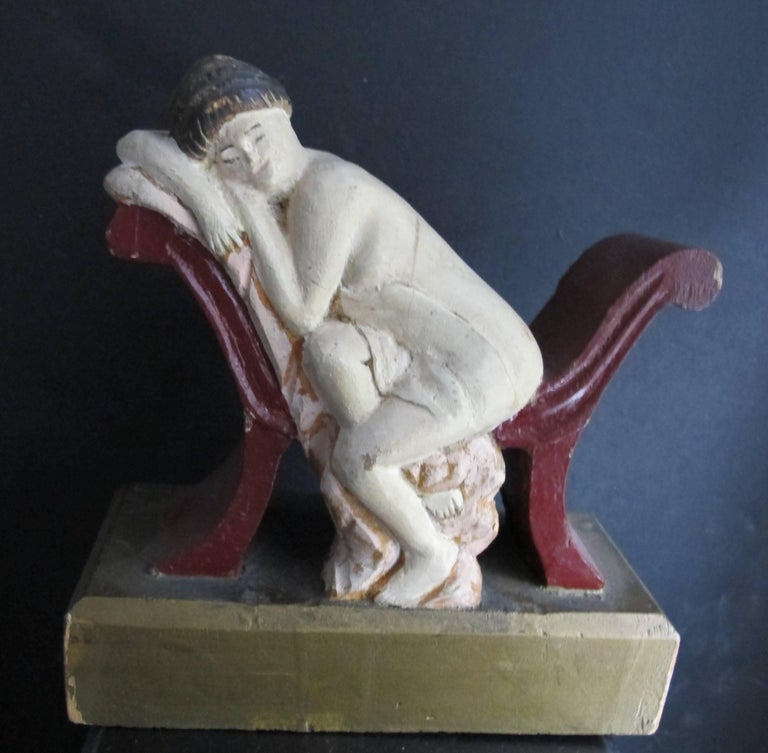 Carved Reclining Woman on Chaise Carved by Fred Alten In Excellent Condition For Sale In New York, NY