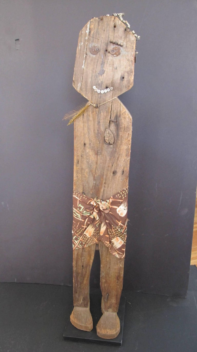 Wood Folk Art Figure In Fair Condition For Sale In New York, NY