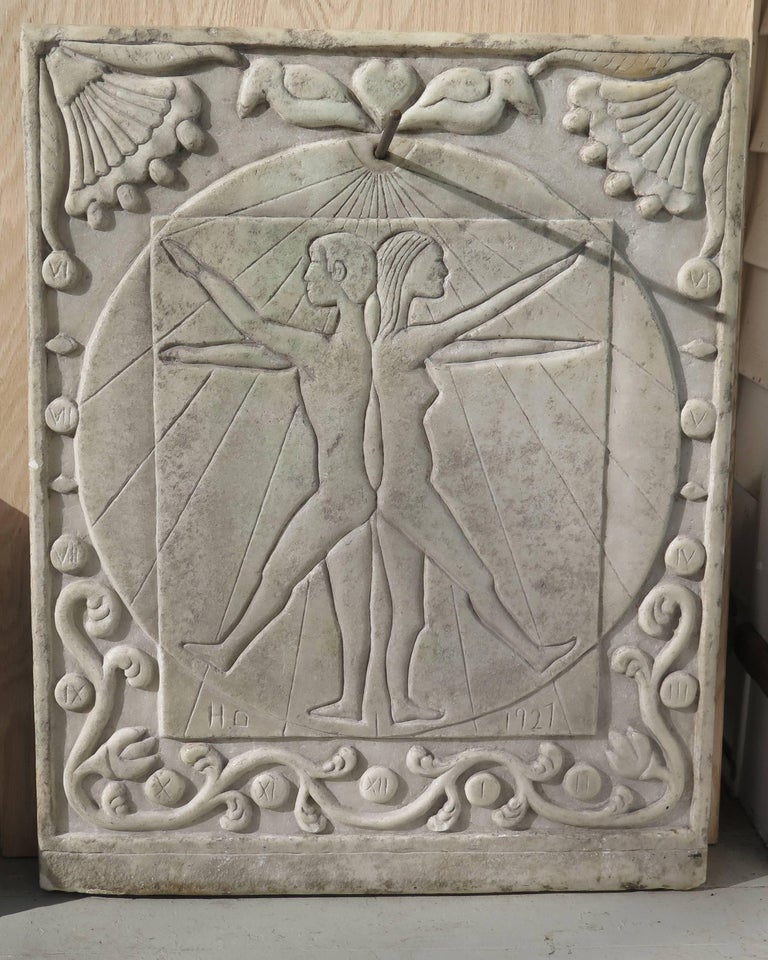 Marble Sundial with Incised Figures by HD 5
