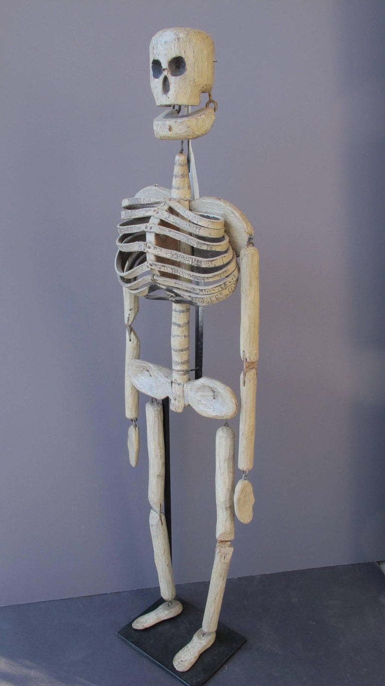 Folk Art Wood and Leather Skeleton Puppet from Odd Fellows Lodge For Sale