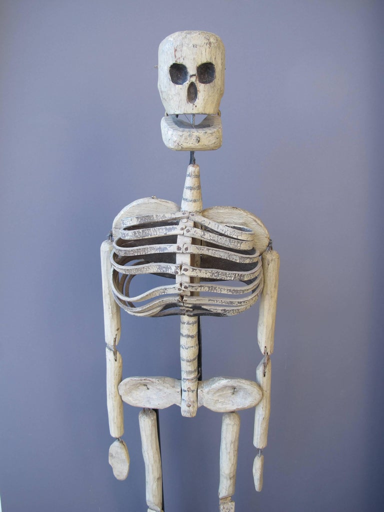 American Wood and Leather Skeleton Puppet from Odd Fellows Lodge For Sale