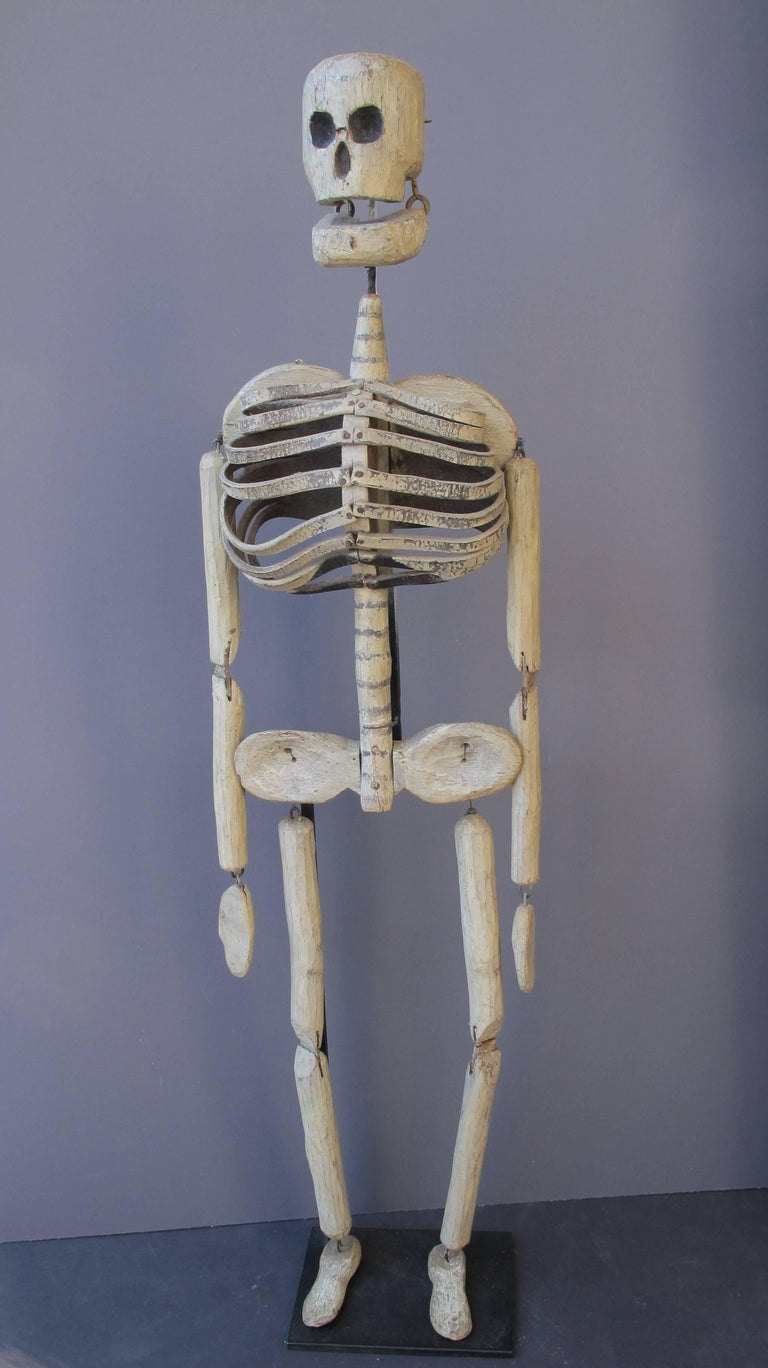 Wood and Leather Skeleton Puppet from Odd Fellows Lodge In Excellent Condition For Sale In New York, NY