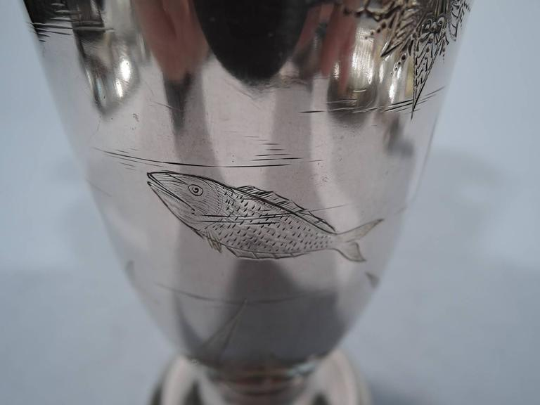 Late 19th Century Gorham Japonesque Antique Sterling Silver Amphora Vase For Sale