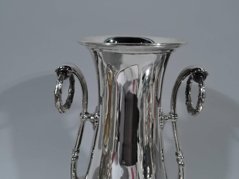 Edwardian Antique Gorham Tall and Classical Sterling Silver Trophy Vase For Sale