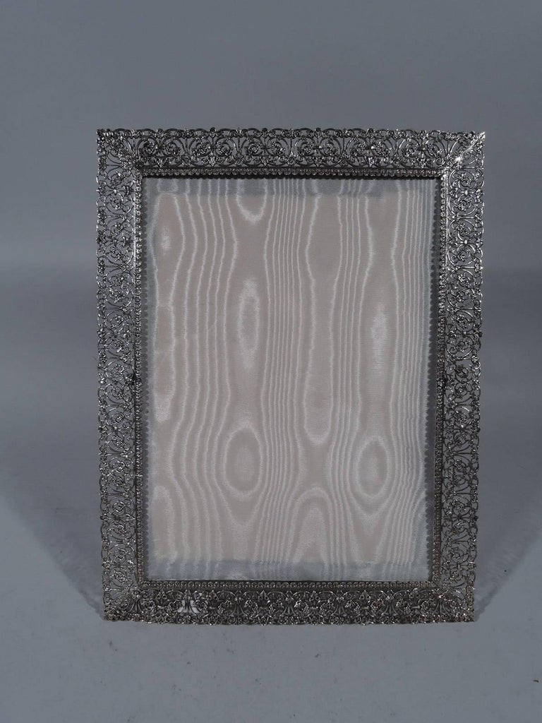 c8edbed2967b Italian handmade sterling silver filigree picture frame. Rectangular window  bordered by scrolled filigree with applied