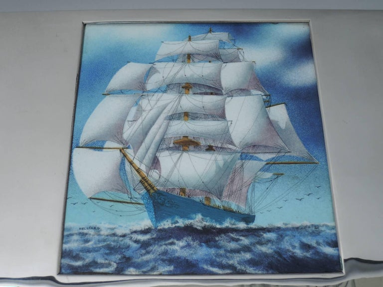 Large American Sterling Silver Box with Enamel Nautical Scene In Excellent Condition For Sale In New York, NY