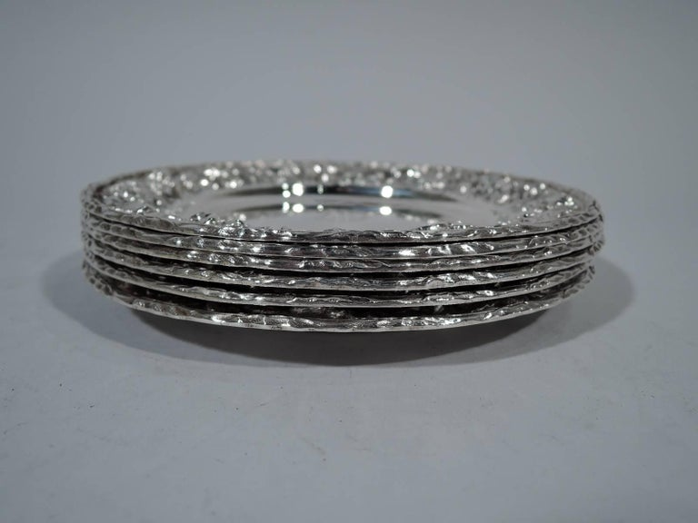 Victorian Set of Six Kirk Repousse Sterling Silver Bread and Butter Plates For Sale