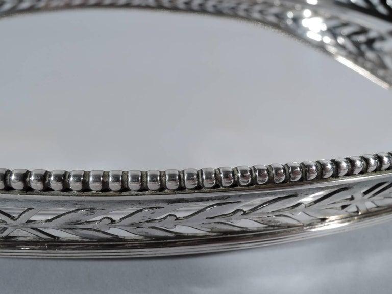 Pretty Antique Dutch Edwardian Pierced Silver Tray For Sale 1