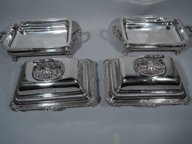 Pair of English Regency Sterling Silver Covered Serving Dishes by Paul Storr In Excellent Condition For Sale In New York, NY