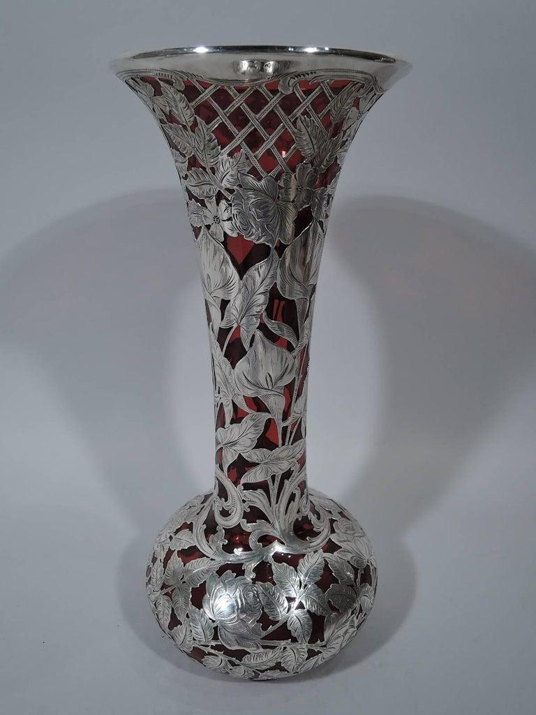 Tall antique alvin art nouveau red silver overlay flower trellis american tall antique alvin art nouveau red silver overlay flower trellis vase for sale reviewsmspy