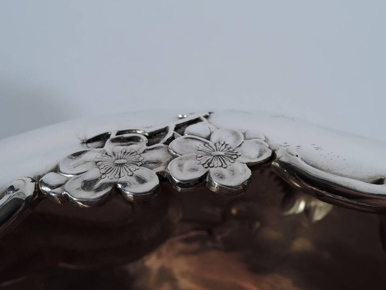 19th Century Antique Chinese Export Silver Dragon Bowl