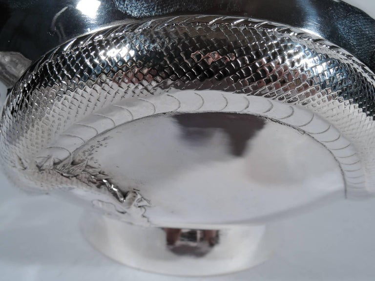 Antique Chinese Export Silver Dragon Bowl 2
