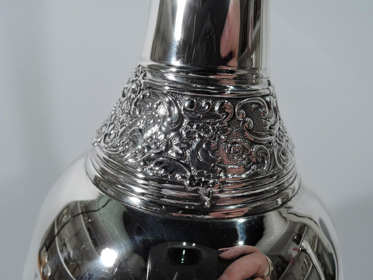 American Tall and Unusual Sterling Silver Vase by Tiffany For Sale