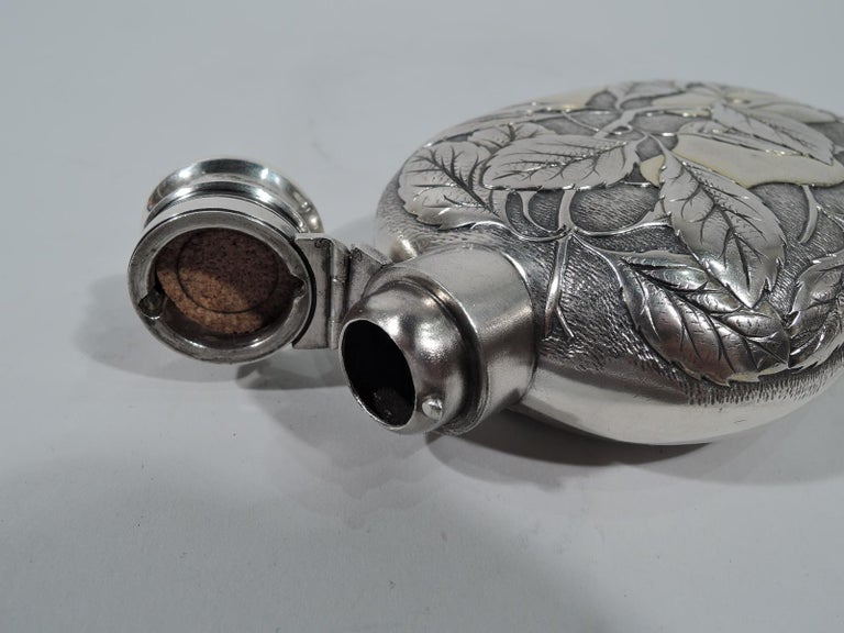 Aesthetic Movement Antique Gorham Japonesque Parcel Gilt Flask with Fruiting Pear Branch For Sale