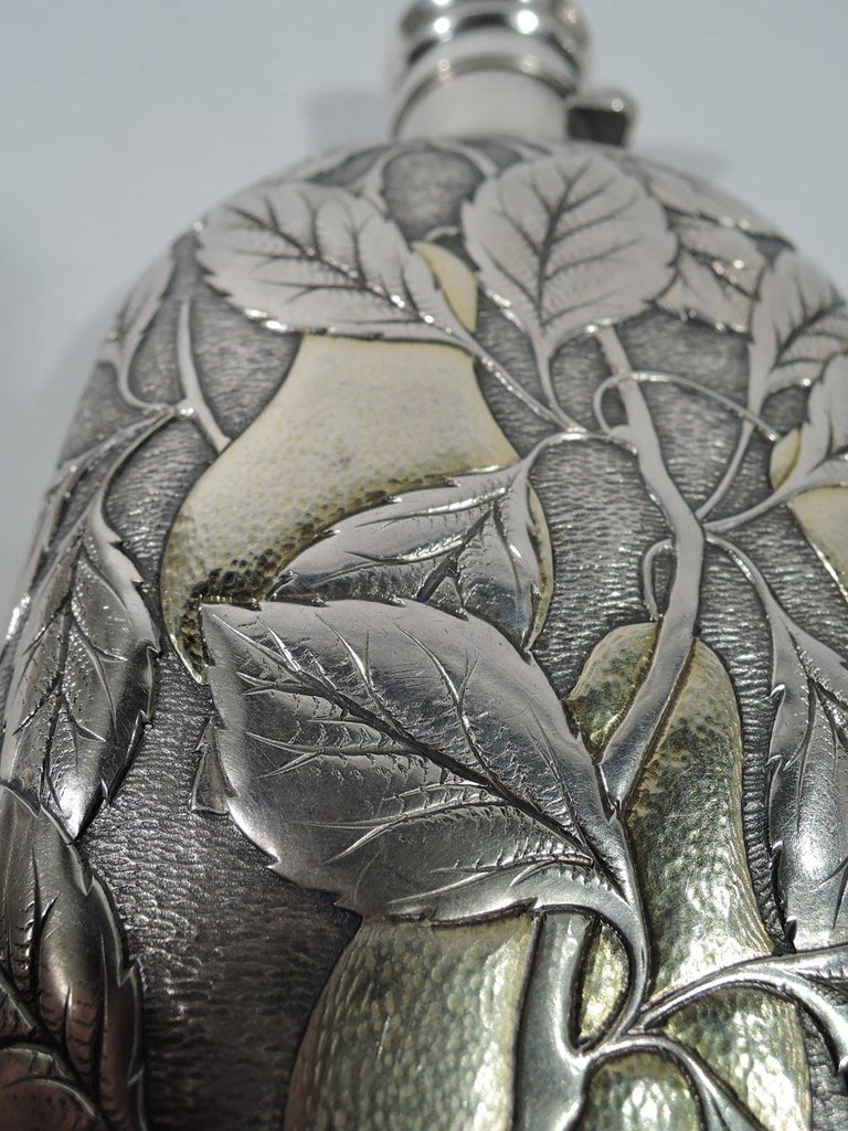 American Antique Gorham Japonesque Parcel Gilt Flask with Fruiting Pear Branch For Sale