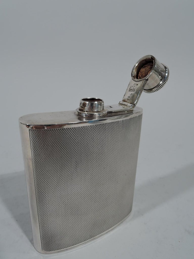Mid-20th Century English Art Deco Modern Sterling Silver Mini Hip Flask For Sale