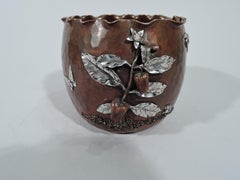 Gorham Japonesque Copper and Silver Mixed Metal Bird & Butterfly Bowl